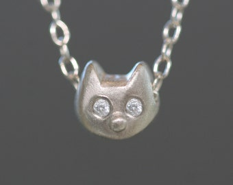 Baby Kitten Necklace With Diamonds in 14K Gold