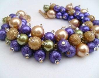 Purple and Gold Pearl Beaded Bracelet, Mardi Gras, Wedding Jewelry, Bridesmaid Bracelet, Cluster Bracelet, Pearl Bracelet, Chunky Jewelry