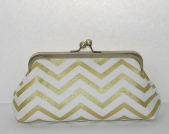 Bridesmaid Clutch Purse, Gold Chevron Bridesmaid Gift, Gift for Bride, Bride Purse, Bridal Shower Gift, Gold Metallic Chevron