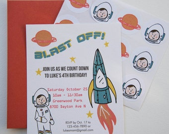 Astronaut Space Rocket Childrens Birthday Party Personalized Invitations plus Stickers Set