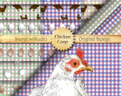 Chicken Coop Country Gingham Check Digital Paper: Eggs, Hen, Chicken Silhouettes, Crafting Supply