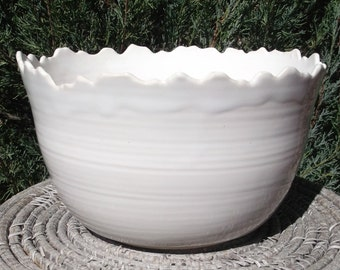 Serving Bowl with Snow covered Rocky Mountain Rim - Handmade Pottery