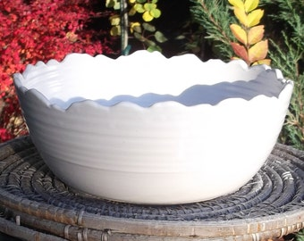 White Serving Bowl with Rocky Mountain Rim - Handmade Pottery