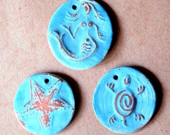 3 Handmade Ceramic Beads - Ocean Beads - Mermaid, Starfish and Turtle Pendants - Sky Blue Matte Glaze on Brown Stoneware Clay