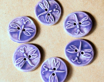 6 Handmade Ceramic Buttons - Small Dragonfly Buttons in Lavender - Handmade Stoneware Artisan Buttons - Lavender Baby Sweater Buttons