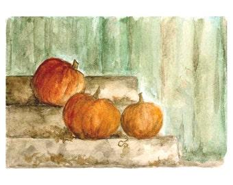 Pumpkin Note Cards Autumn Fall Orange Original Art Watercolor Print Rustic Stationery