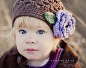 "Crocheted Beanie  ""The Arrianna"" Chocolate, Hot Purple, Sage Green Winter Fall Baby Gift"