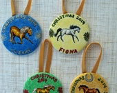 """RESERVED for Nicky Hand Painted Horses Canvas Christmas Ornaments 2.25"""" round"""