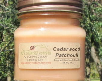 CEDARWOOD PATCHOULI CANDLE - New - Earthy Woodsy