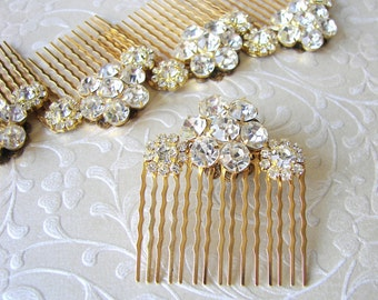 Rhinestone Flower Hairpiece Jeweled Hair Comb Gold Wedding Headpiece Bridesmaid Accessory Ballroom Pageant Jewelry Bohemian Chic Formal Prom