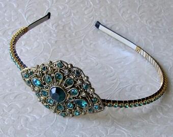 Jeweled Rhinestone Headband Emerald Christmas Green Art Deco Wedding Nouveau Hairpiece Bohemian Chic Bride Vintage Jewelry Diadem Prom Hair