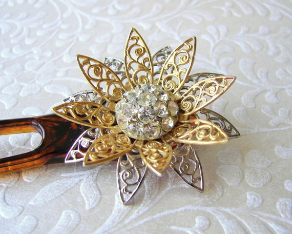 Vintage Jewelry Sunflower Hair Comb Rhinestone Flower Fork Mixed Metal Hairpiece Silver and Gold Hairpin Bohemian Chic Bun Stick Festival