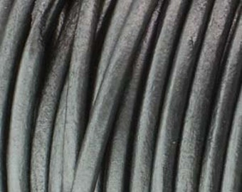 Genuine India LEATHER CORD 1.5mm Metallic Grey (You Pick Length) 420976