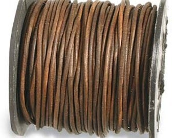 1mm (You Pick Length) Distressed Brown Genuine India Leather Cord 42970