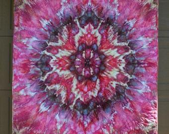 Rose Mandala Quilt - Hand dyed Modern Shibori Fabric