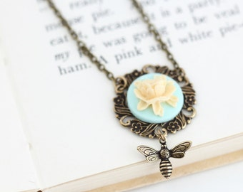 Bee Necklace - Vintage Style Necklace - Brass Necklace - Whimsical Necklace - Gift for Friend - Sister - Girlfriend Gift
