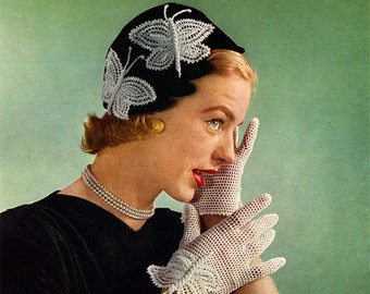 1950s Butterfly Hat and Gloves, Vintage Crochet Pattern - Digital PDF E-Book