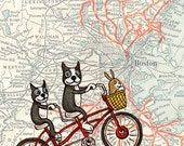 "Boston Map Bicycle Terriers Art Print 11"" x 14"""