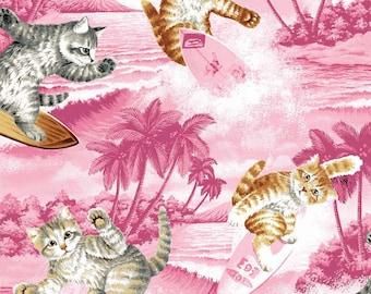 Riley Blake Fabrics, Surfin Cats in pink, Yard