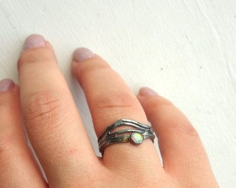 Handmade Sterling Silver Opal Nest Ring