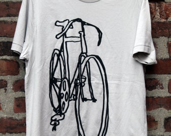Bike Art Shirt - Racycle Bicycle Scribble T on Gray - Bicycle Shirt Bike Tee Shirt Cycling T shirt Bike Art T shirt Bicycle Print Art T