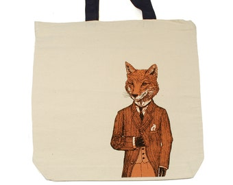 Fox Tote - The Dapper Fox Bag - Canvas Tote Bag - Sister Gift - Best Friend Gift - Sophisticated