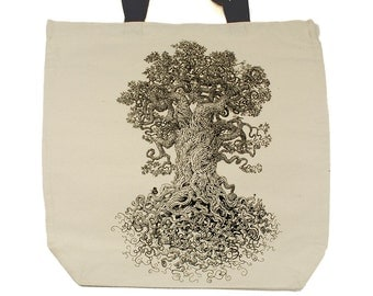 Tree Tote - The Gnarled Tree Bag - Tote Bag - Tree of Life - Forest Art - Gift for Women - Creative Gifts
