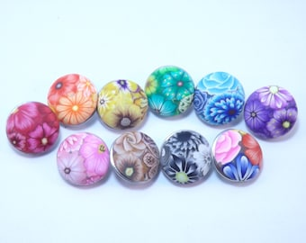 Snap Button Handmade Colorful Millefiori Button YOUR CHOICE of Colors