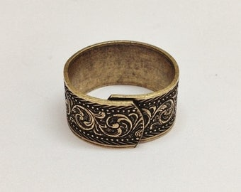 Wide Ring Blanks - 4 Antiqued Brass Ox VICTORIAN Wide Band Adjustable Ring Blanks