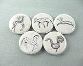 Five Swedish Folk Art Animals Fridge Magnets Pins or Wine Charms : black neutral deer horse  / 1253