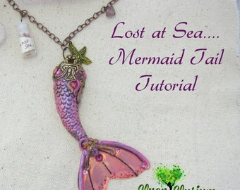 Polymer Clay Mermaid Tail Tutorial.  Instructions for sculpting a DIY necklace.