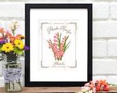 Personalized Birthday Present - AUGUST Birth Month Flower - Vintage Style Floral Art Print - Nursery Art - Baby Shower - 8x10 Art Print