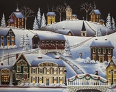 Folk Art Print Christmas in Fox Creek Village
