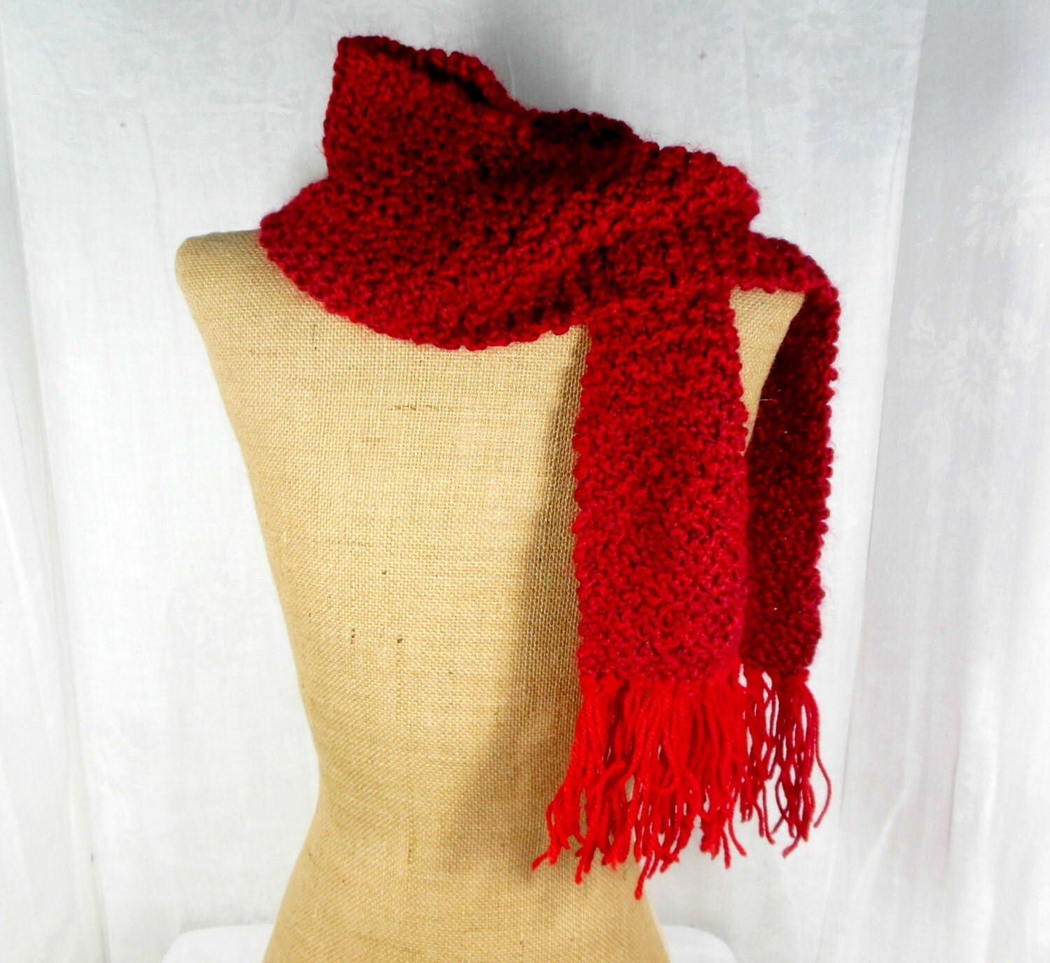 Red skinny scarf hand knit scarf womens knit scarf long