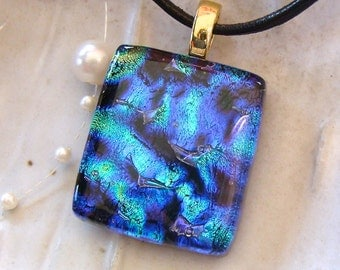 Fused Glass Pendant, Dichroic Pendant, Glass Jewelry, Blue, Purple, Aqua, Necklace Included, A5