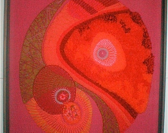 Modern Art -  Shocking Pink Embroidery - Framed - Vintage 1970s Hand Made Sewn Wool Organic Shapes - Many Textural Effects