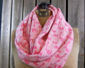 Scarf, infinity scarf, made from vintage reclaimed knit fabric, pink accessory, floral, pink, vintage, photo fashion, gift, circle scarf