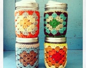 crochet cozy jar + Cuppow set (assorted colors, ready to SHIP!)