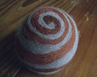 One multi-colored felted pin-cushion, Brown and Gray