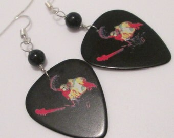 Jimi Hendrix guitar pick hand made wire wrapped pierced dangle earrings by Ziporgiabella