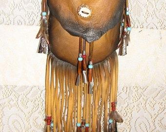 """Artisan Made Leather Medicine Bag Fringed Distressed Deerskin Crossover Purse Fringe Beads """"NAVAJO MEDICINE BAG"""" Handmade by Debbie Leather"""