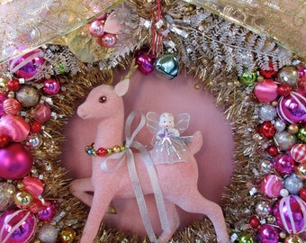 SUPER SALE...Pink Christmas Wreath with Gorgeous Large Pink Reindeer and Angel...Handmade and OOak
