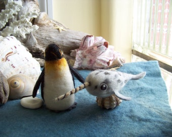 Needle felted Emperor Penguin