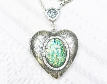 Silver Locket Necklace - ORIGINAL Celtic Love Locket - Silver Heart Locket - by BirdzNbeez - Mother's Day Emerald Wedding Anniversary