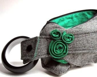 Gray Tweed & Emerald Green Bracelet Handbag