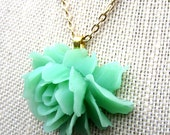 Fleur Menthe Necklace - mint green resin rose pendant on gold metal necklace - Free Shipping to USA