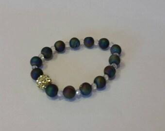 Modern, Trendy,  Pave' Druzy Drusy Rainbow and Crystal Bracelet