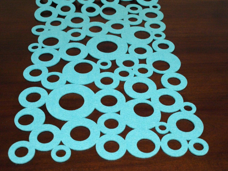 Turquoise felt modern table runner circles modern home decor for Modern table runner