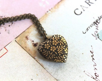 flower vine heart. locket necklace. brass ox jewelry smaller version
