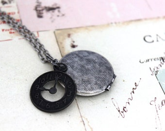 clock. locket necklace. silver ox jewelry with etched lines